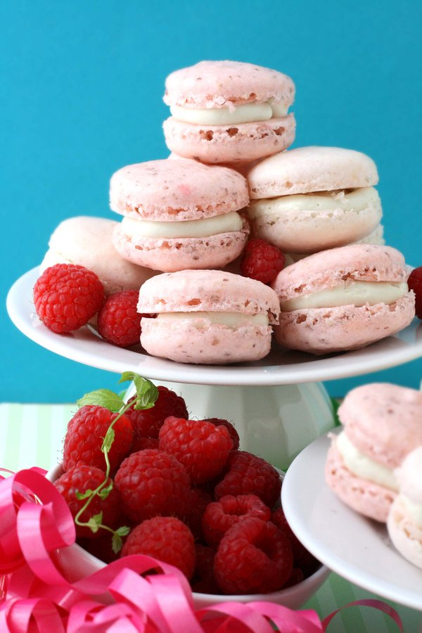 And then I sandwich them between two pretty pink macaron shells.