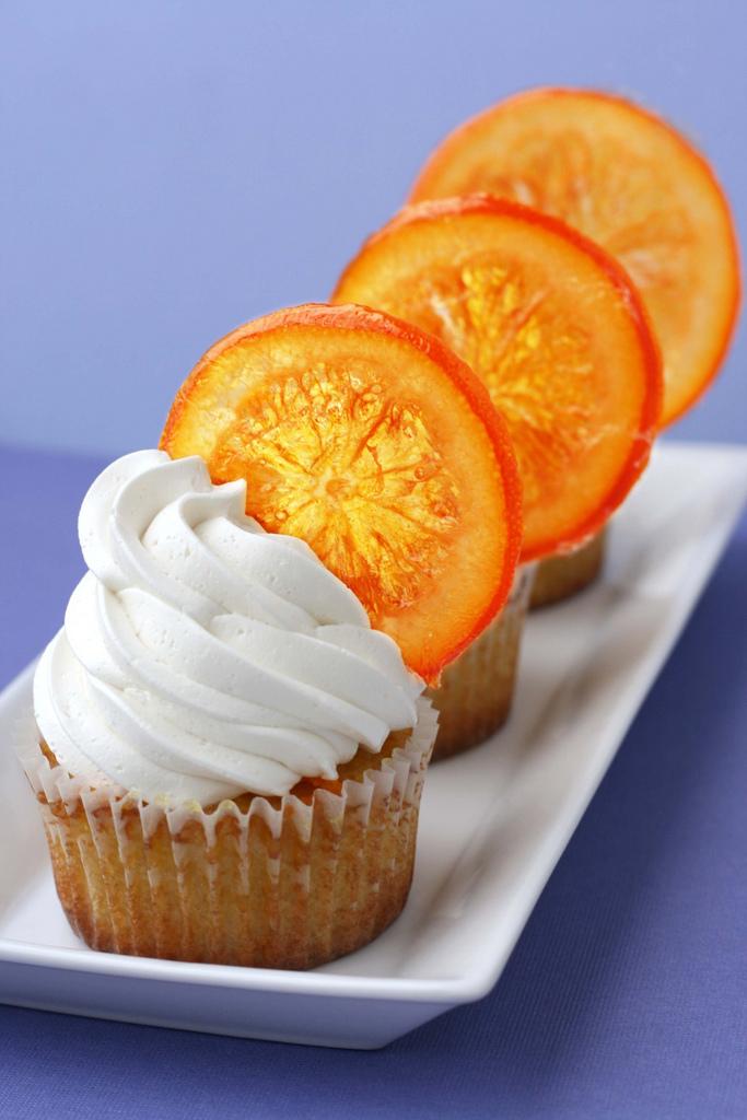 Clean - {Orange Cupcakes with Candied Orange Garnish} - Whisk Kid