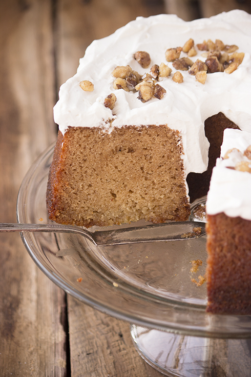 A unique cake. Divinely moist and honey flavored, frosted with salty-sweet whipped cream