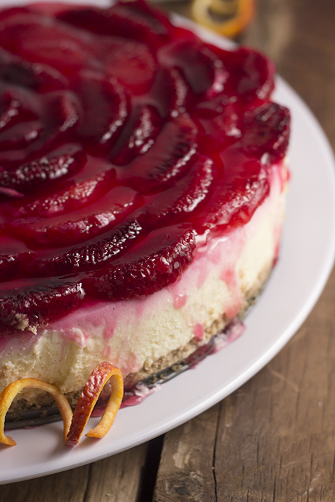 Blood orange cheesecake. Beautiful and romantic dessert for Valentine's Day and beyond!