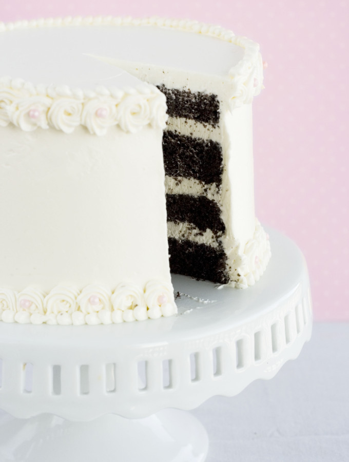 Think – {Chocolate Cake with Vanilla Italian Meringue Buttercream}