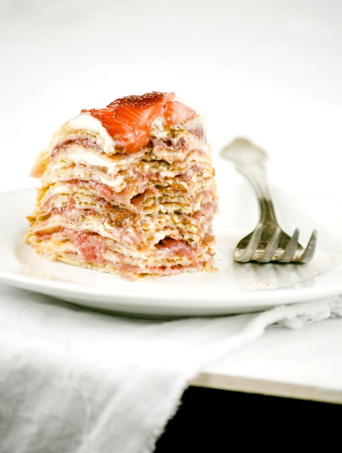 Bruise – {Strawberries, Rhubarb and Cream Crepe Cake}
