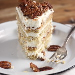 Relief – {Roasted Banana Cake with Cinnamon Honey Pecans and Cream Cheese Frosting}
