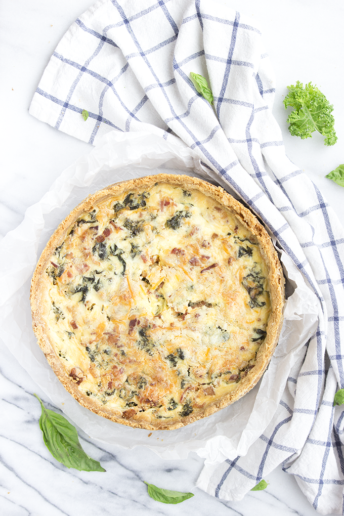 Cheddar, Kale, Bacon & Leek Quiche in Buttery Basil Cracker Crust