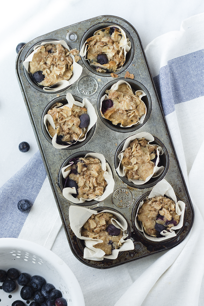 Blueberry Oat Crumble Muffins. Good choice for breakfast because they contain oat flour