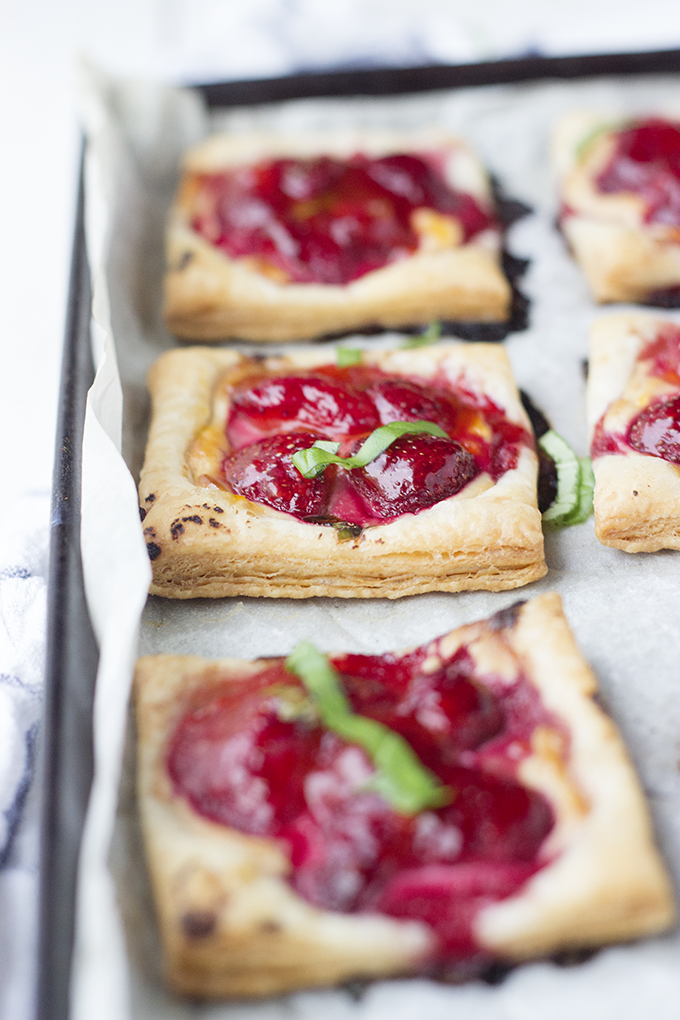 Strawberry Tart with Honey Balsamic Goat Cheese. Easy and impressive party appetizer.