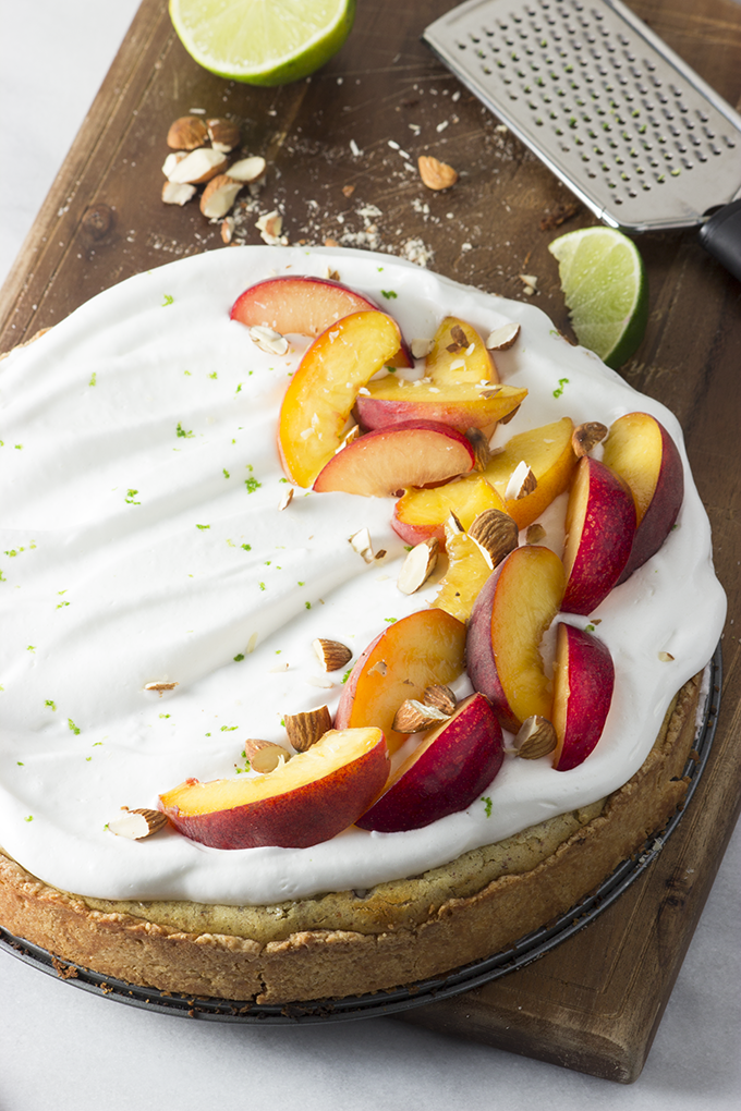 Almond Tart with Lime Meringue and Stone Fruit at Whisk Kid