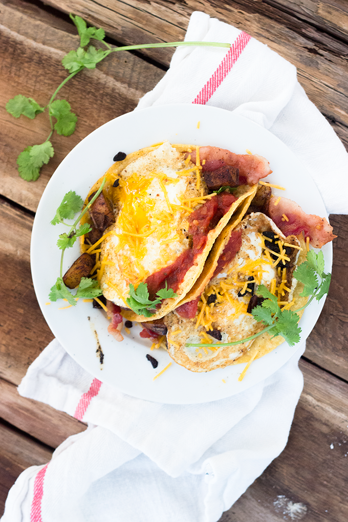 Baking Steel Breakfast Tacos - Bacon, Potatoes, Onions, Peppers, Egg, Cheese, Cilantro