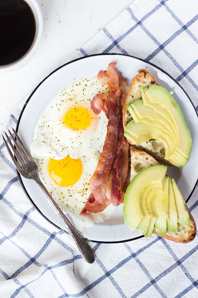 Standard Breakfast: Bacon, Eggs, Avocado Toast