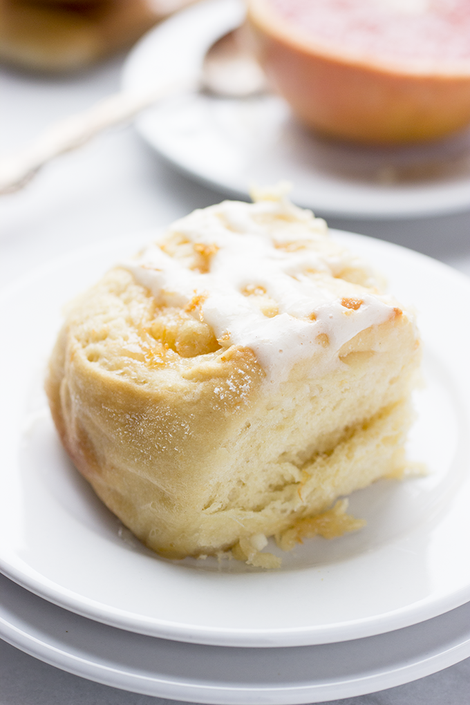Sticky Grapefruit Rolls with Grapefruit Cream Cheese Glaze. Pillowy soft like a cinnamon roll, but fruitier!