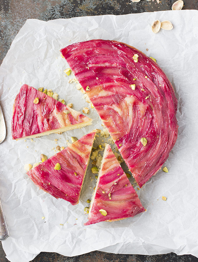 Rhubarb Rose Upside-Down Cake With Pistachio Crumb